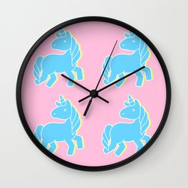 Blue unicorn in a pink world Wall Clock
