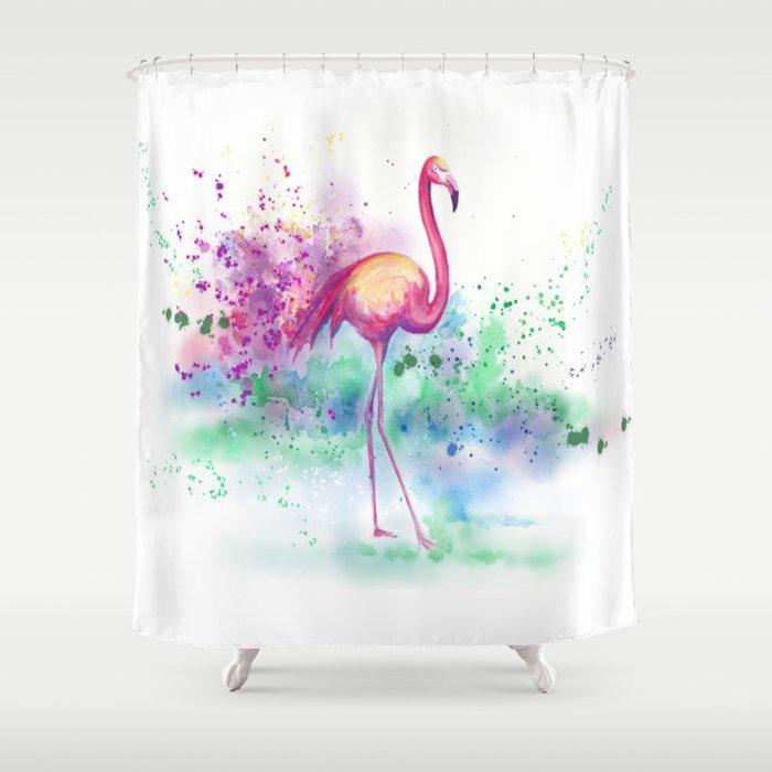 Messy Flamingo Shower Curtain