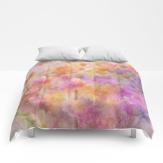 Sophisticated Painterly Floral Abstract Comforters