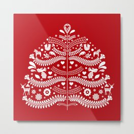 Scandinavian Folk Art Christmas Tree Metal Print
