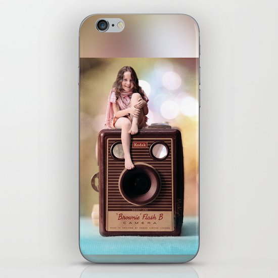 Smile for the Camera - vintage Kodak Brownie camera with miniature girl. iPhone & iPod Skin