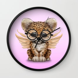 Cute Leopard Cub Fairy Wearing Glasses Pink Wall Clock