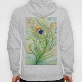 Green Watercolor Peacock Feather and Bubbles Hoody