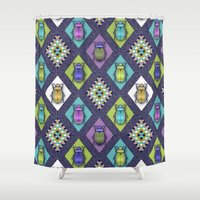 quilt Shower Curtains featuring Scarabs Quilt by Vannina