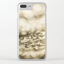 Shiny gold sparkling bokeh Clear iPhone Case