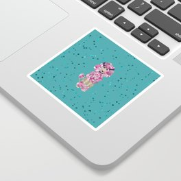 Fun Paint Splatter Poodle on Teal Sticker