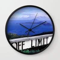 philippines Wall Clocks featuring OFF LIMIT (Philippines) by Julie Maxwell