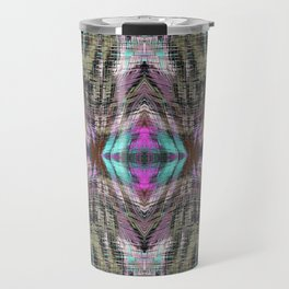 geometric symmetry pattern abstract background in pink blue brown Travel Mug