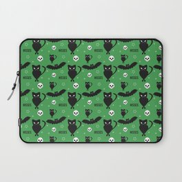 """""""Hisses"""" Cats with Bats Pattern (green) Laptop Sleeve"""