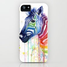 Zebra Watercolor Rainbow Animal Painting Ode to Fruit Stripes iPhone (5, 5s) Slim Case