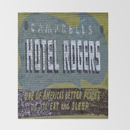 Idaho Falls - Vintage Hotel Rogers Better Place To Eat And Sleep Throw Blanket