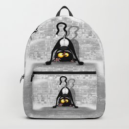 Cat Upside Down Funny Cartoon Character Backpack