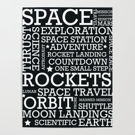 Space Text inspirational poster. Poster