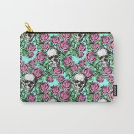 Skulls & Roses Pattern on Blue Carry-All Pouch