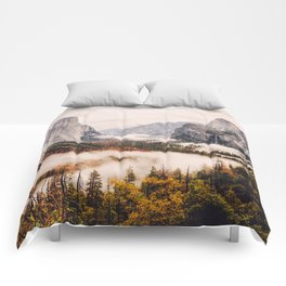 Amazing Yosemite California Forest Waterfall Canyon Comforters