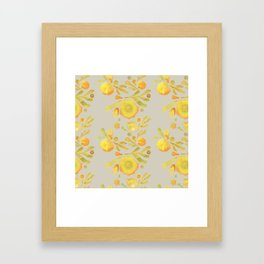 Granada Floral in Yellow on grey Framed Art Print