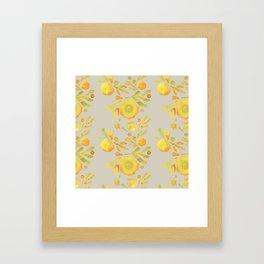 Granada Floral in Yellow on grey Framed Art Print