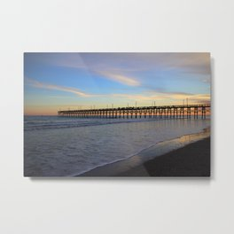 Fishing From Pier At Sunset Metal Print
