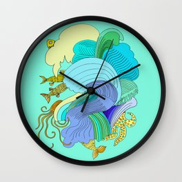 Waves & Fishes Wall Clock