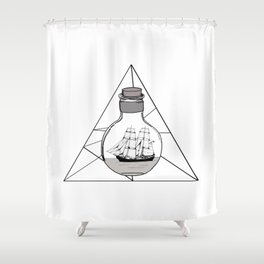Graphic . Geometric Shape Black Ship in a Bottle Shower Curtain