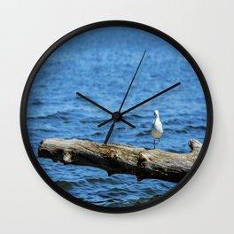 Seagull on Driftwood Wall Clock