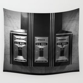 Mailboxes Black and White Original Photo Wall Tapestry