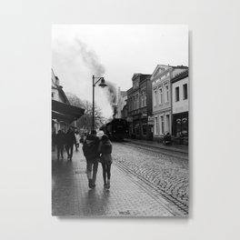 Steampunk city - Steam Tram Metal Print