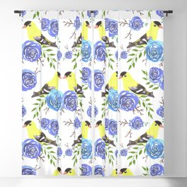 American goldfinch or Spinus tristis bird and roses Blackout Curtain