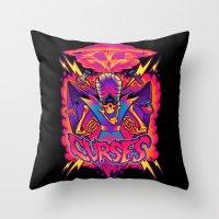 jojo Throw Pillows featuring MOJO JOJO: CURSES by BeastWreck