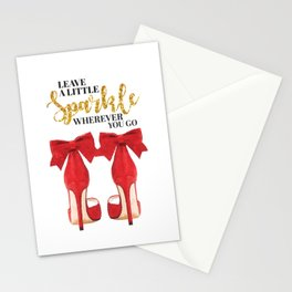 Leave a little sparkle wherever you go, Quote, make up, Makeup, Vanity, make up, Shoes, Red shoes Stationery Cards