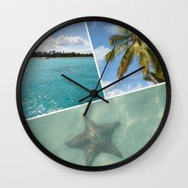 Caribbean Photo Collage - Isla Saona Wall Clock