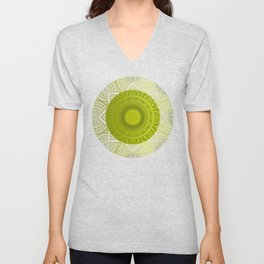 """Green Lemon Pattern Mandala Polka Dots"" Unisex V-Neck"