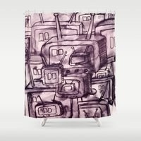 cartoons Shower Curtains featuring Saturday Morning Cartoons 2: TV Print by Kayleigh Morin