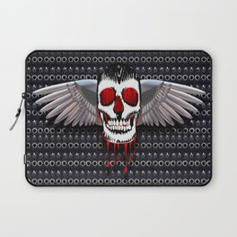 Skull with chromed wings on leather illustration Laptop Sleeve