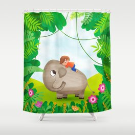 Kid and elefant Shower Curtain