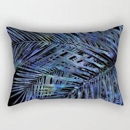 Midnight Blue Palm Leaves Mixed Media Art Rectangular Pillow