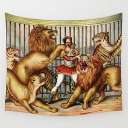 The Lion Tamer 1873 Vintage Circus Wall Tapestry