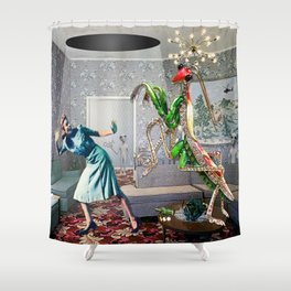 Mantis Encounter Shower Curtain