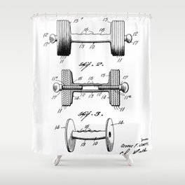 Weight Lifting Patent - Dumb Bell Art - Black And White Shower Curtain