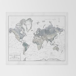 The World [Black and White Relief Map] Throw Blanket