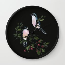 Blue Birds on Cherry Tree Wall Clock