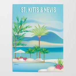 St. Kitts and Nevis - Skyline Illustration by Loose Petals Poster