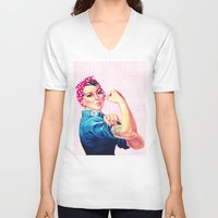 sayings V-neck T-shirts featuring Fight Like A Girl Rosie The Riveter Girly Mod Pink by Girly Road