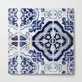 blue tile pattern VII - Azulejos, Portuguese tiles Metal Print