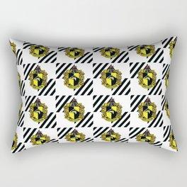 Hufflepuff Coat of Arms Checkered Print Rectangular Pillow