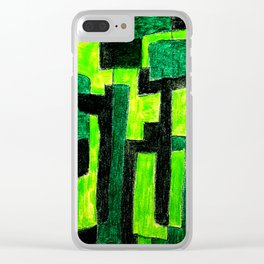Three Green Puzzle Clear iPhone Case