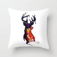 reindeer Throw Pillows featuring reindeer by Armyhu