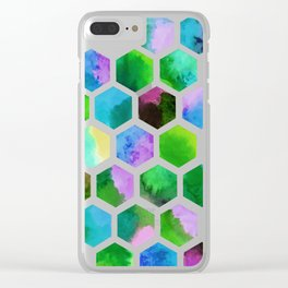 Green Hexagons Clear iPhone Case