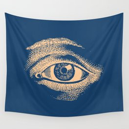 Retro Vintage Blue Eye Pattern Wall Tapestry