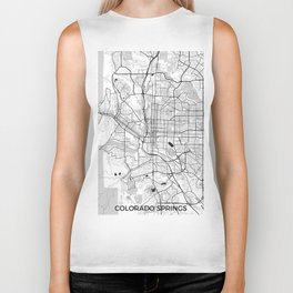 Colorado Springs Map Gray Biker Tank
